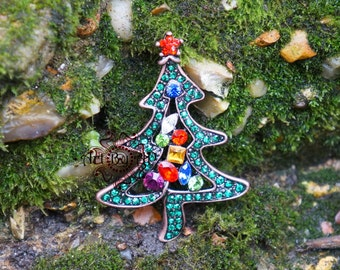 Christmas Tree Brooch, Sparkly Pin in Silver Tone, Multi-Colored