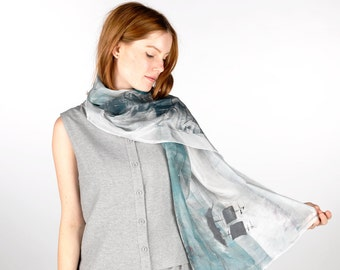 Silk Scarf, Iceland Ship the Sea, Hand Painted, Large, Blue, Grey