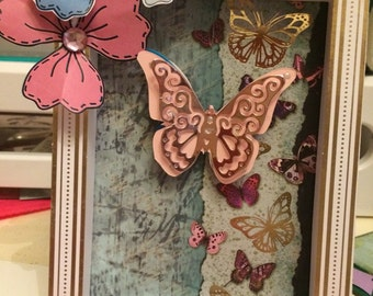 Handmade cards box frame butterflies