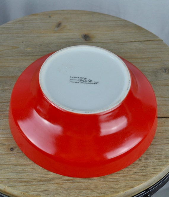 Midcentury Paul McCobb Contempri Red and White Serving Bowl 8.25 x 2.75