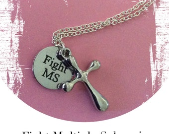 MS necklace, multiple sclerosis necklace, cross pendant, MS Trust, charity gift, MS jewelry, ms jewellery, ms chain