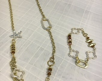 Silver and gold chain necklace/lanyard set