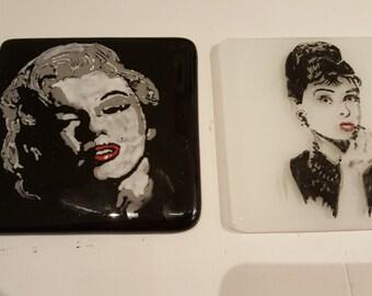 Marilyn Monroe and Audrey Hepburn Fused Glass Coasters set of 2