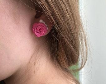 Pink roses earrings