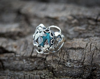 Floral Sterling Silver Ring with Labradorite Gem - Labradorite Silver Flower Ring - Silver Ring - Gemstone Ring - Handmade ring