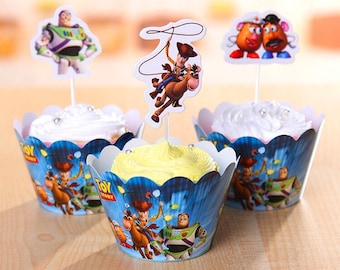 12 sets Toy Story Cupcake toppers and wrappers ,(12 toppers+12 wrappers),Toy story party decoration