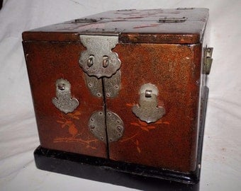 Antique Japanese laquered chest/jewelry box,engraved & raised design age 1850 -1899