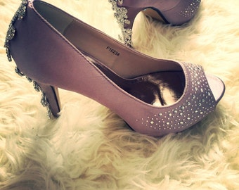 Diamante Trim Peep Toe Heels (other colours available)