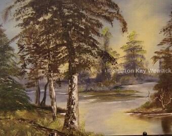 Trees/River (12x16, Enhanced Oil Painted Print)