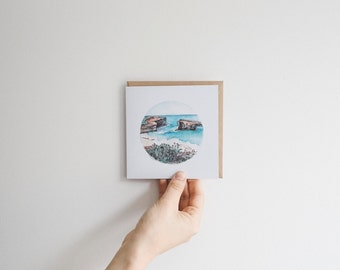 Ocean Scene - blank watercolour greeting card - recycled, 125mm square - with kraft envelope