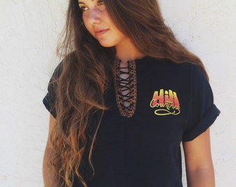 LF inspired top- Lace up tee