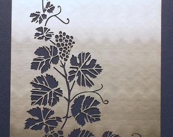 Delicate Grapevine Corner Stainless Steel Metal Stencil Template 14.5cm x 10.5cm