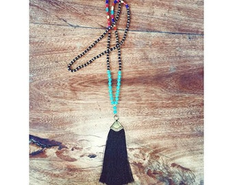 Beautiful, Hand-Made Turquoise, Wood and Stone Necklace