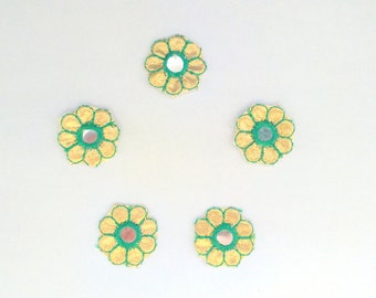 Set of 5 Green applique, green color applique, golden color applique, mirror work applique, flower shape applique, round small applique