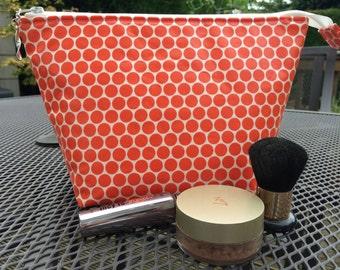 Makeup bag, cosmetic bag, cosmetics storage, wash bag, makeup storage, beauty bag, orange make up bag
