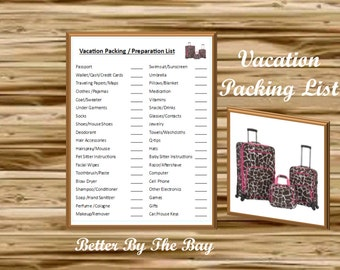 Vacation Packing & Preparation List