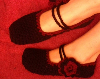 crocheted rose mary janes