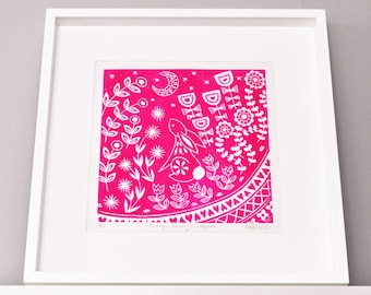 Evelyn Bunny in magenta, limited edition scandinavian folk, woodland animal, nursery wall art linocut print