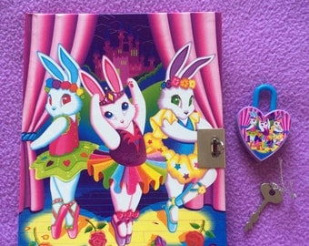90's Lisa Frank Ballerina Bunnies Vintage Diary Journal Lock