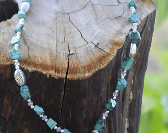 Turquoise and Silver Princess Length Necklace