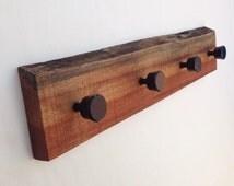 Mahogany Coar Rack; unique wooden handmade waney edge hardwood wall mounted; 4 four quality steel coat hooks; unusual natural simple item
