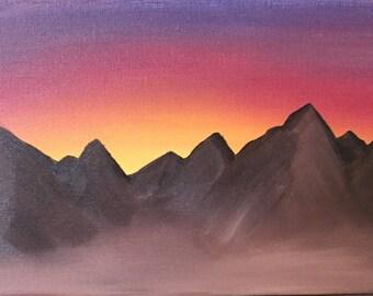 Mountain Sunset- Original Oil Painting by Kyndal Gordon