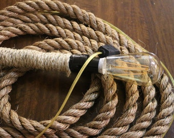 Rustic Nautical Rope Light - Vintage styled LED Edison bulb - 16'-24' lengths