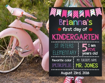 Kindergarten School Signs, First Day Of Kindergarten, Back To School Signs, Printable Photo Prop, Chalkboard Poster, Starting School Signs