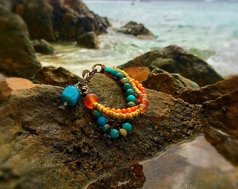 Turquoise and Tangerine Beaded Bracelet
