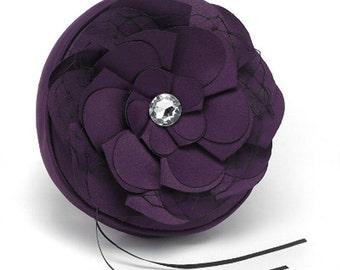 Purple Plum Eggplant Matte Satin Ring Bearer Wedding Pillow