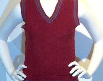 Vest Preppy V Neck Terry Cloth Burgundy Red Retro Tennis Unisex Womens Girls Boys Prep School Catholic Uniform Harry Potter Costume Cosplay