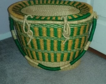 Ghana woven basket with cover