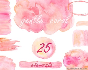 Gentle Coral Watercolor background clipart Commercial use pink rose blush digital abstract overlay splash circle brush stroke patch png