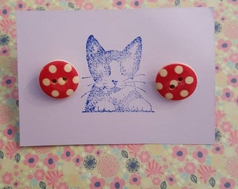 Handmade red and white button earrings - pair of 15mm red and white polka dot wooden button silver plated earrings