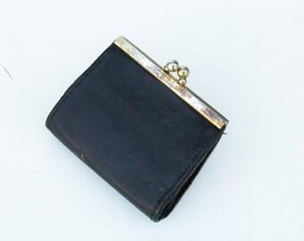 Vintage black cut wallet