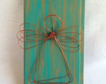 Wood Plaque With Wire Angel