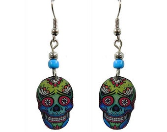 Acrylic Faded Skull Earrings Lime Blue Red