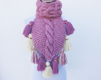 Scarves. Tassels Neck Warmer. Cowl Neck Scarf. Pink Scarf. Handknit Scarves. Neck Warmer. Knitwear. Scarves and Accessories Women's Clothing
