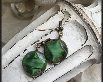 Dangle Drop Earrings Czech Glass Beads Emeral Green Jewelry Boho chic Gypy's Vintage