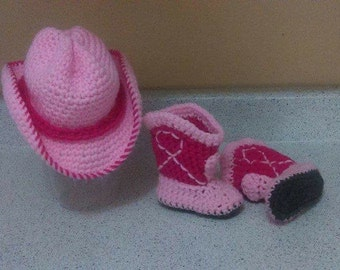 Crochet cowgirl hat and boots