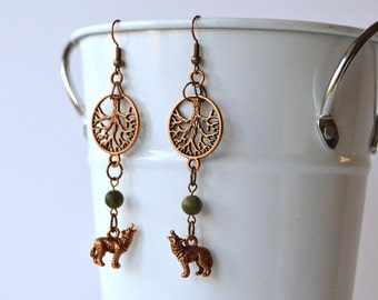Teen Wolf Inspired Nemeton Earrings - Wolf and Tree Roots in Copper & Green