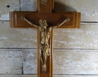 Vintage Catholic Sick Call/Last Rite Wood an Brass Crucifix Cross