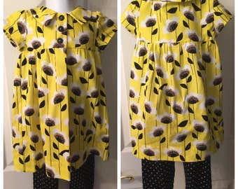 Girl's Yellow Baby Doll Top with Black Leggings