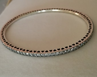 925 sterling silver Pandora bracelet Forever with cubic zirconia 19 cm