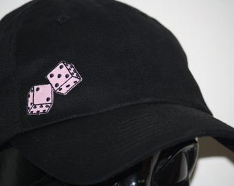 vintage style pink dice Embroidered patch HAT black women baseball cap