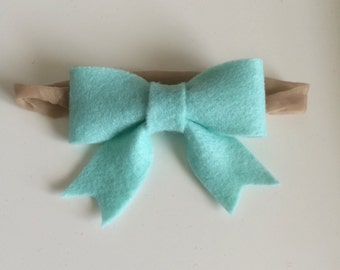 Light Teal Felt Bow (Small)