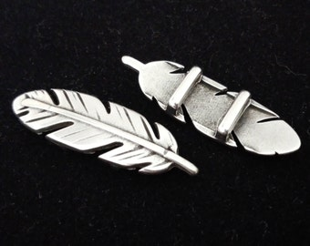 Slider feather silver color for 1cm band