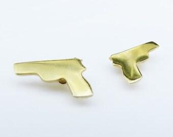 gun earrings gun earrings gold plated