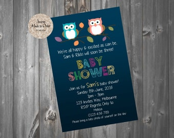 Blue Boy or Girl Baby Shower Invite with cute owls