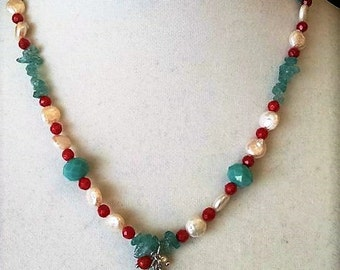 Freshwater Pearl and Turquoise Necklace Set